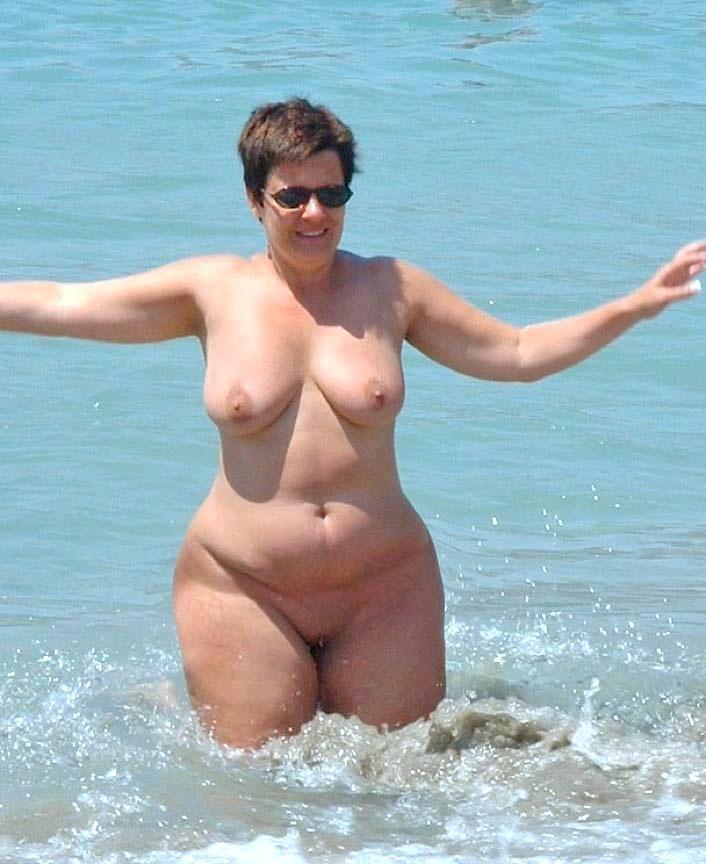 With bbw granny on beach